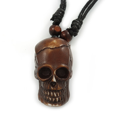 Unisex Acrylic Skull Pendant With Black Waxed Cotton Cord - Adjustable