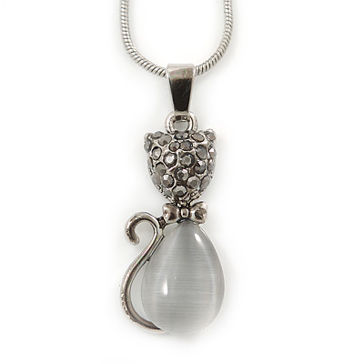 Hematite Crystal Cat's Eye Stone Kitty Pendant With Silver Tone Snake Style Chain - 42cm L