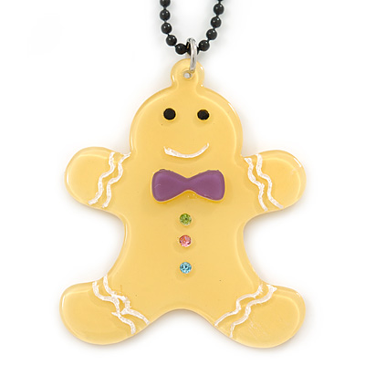 Yellow Acrylic Gingerbread Pendant With Black Beaded Chain - 44cm L