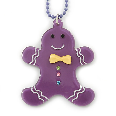 Purple Acrylic Gingerbread Pendant With Lilac Beaded Chain - 44cm L