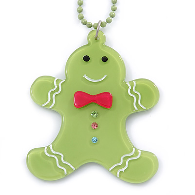 Light Green Acrylic Gingerbread Pendant With Beaded Chain - 44cm L