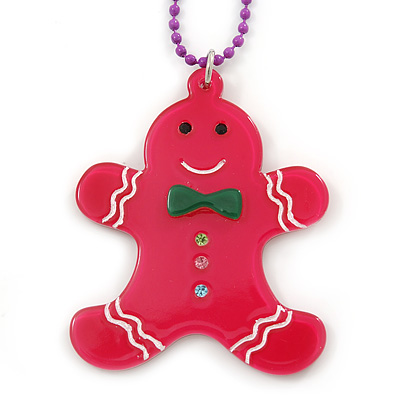 Deep Pink Acrylic Gingerbread Pendant With Magenta Beaded Chain - 44cm L