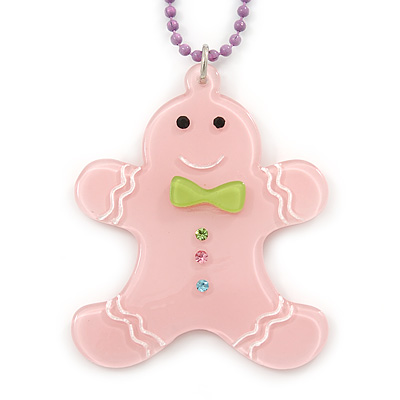 Light Pink Acrylic Gingerbread Pendant With Lilac Beaded Chain - 44cm L