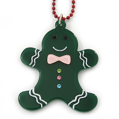 Dark Green Acrylic Gingerbread Pendant With Burgundy Beaded Chain - 44cm L