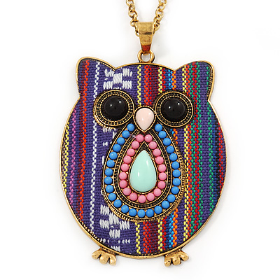 Funky Multicoloured Fabric with Acrylic Bead Owl Pendant, with Long Gold Tone Chain - 80cm L