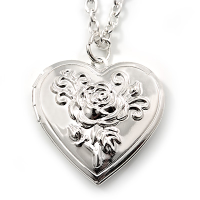 Medium Silver Tone Heart with Rose Motif Locket Pendant - 44cm L/ 6cm Ext