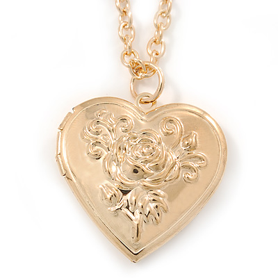 Medium Gold Tone Heart with Rose Motif Locket Pendant - 44cm L/ 6cm Ext