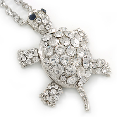 Rhodium Plated Clear Crystal Turtle Pendant with Long Chain - 66cm L/ 10cm Ext