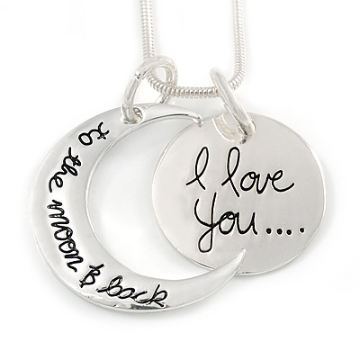'I love you...to the moon & back' Inscription Silver Tone Double Sided Medallion & Moon Pendant and Chain - 40cm L/ 5cm Ext