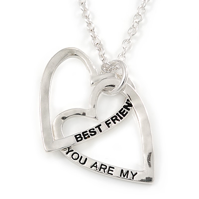 'YOU ARE MY BEST FRIEND' Interlocked Double Heart Pendant and Chain - 40cm L/ 7cm Ext