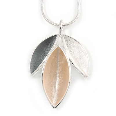 Light Grey/ Light Silver/ Nude Triple Leaf Pendant with Silver Tone Snake Chain - 41cm L/ 5cm Ext