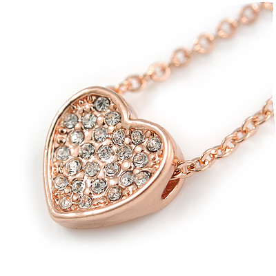 Delicate Small Crystal Heart Pendant with Rose Gold Tone Chain - 39cm L/ 5cm Ext