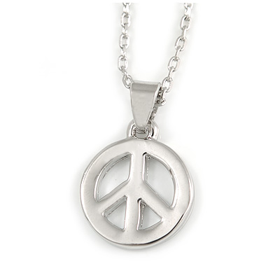 Small Open 'Peace' Pendant with Rhodium Plated Chain - 40cm L/ 5cm Ext