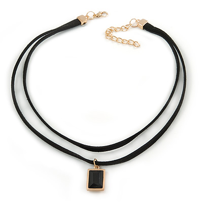Black Double Black Faux Suede Cord Choker Necklace with Jet Black Square Glass Bead Pendant - 33cm L/ 5cm Ext