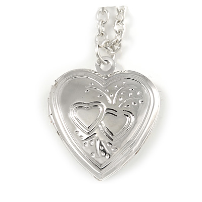 Small Silver Tone Heart with Double Heart Motif Locket Pendant - 40cm L/ 7cm Ext