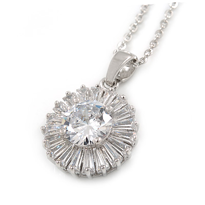 15mm Clear Cz Floral Pendant with Rhodium Plated Chain - 40cm L/ 5cm Ext