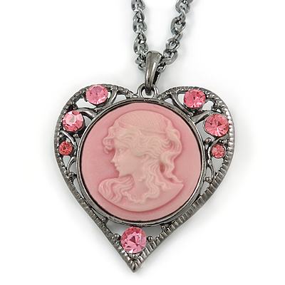 Pink Crystal Cameo Heart Pendant with Chain In Gun Metal - 60cm L/ 5cm Ext - main view