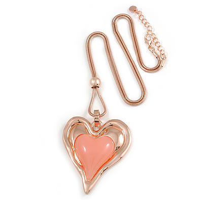 Romantic Assymetric Heart Pendant with Thick Rose Gold Snake Type Chain - 75cm L/ 6cm Ext