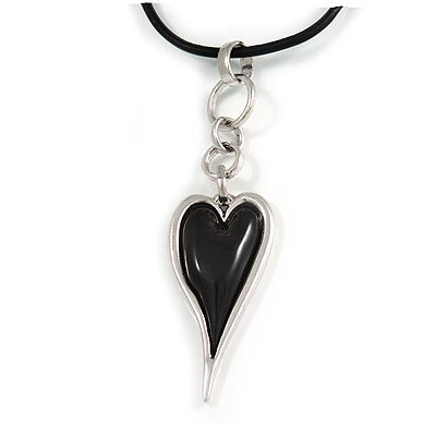 Black Resin Silver Tone Contemporary Heart Pendant with Black Leather Cord - 76cm L/ 5cm Ext