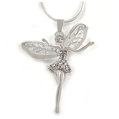 Crystal Fairy Pendant with Snake Style Chain In Silver Tone - 44cm L/ 4cm Ext - main view