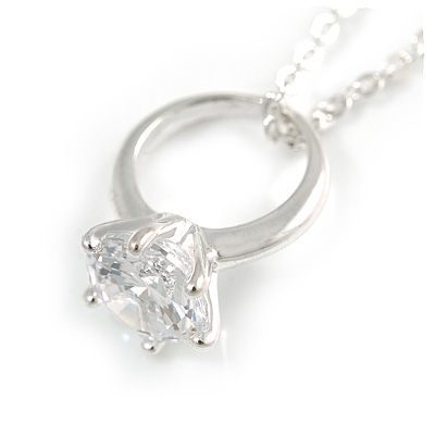 Small CZ Ring Pendant with Silver Tone Metal Chain - 44cm L/ 4cm Ext
