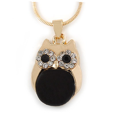 Cute Crystal Owl Pendant with Snake Type Chain In Gold Tone Metal - 42cm L/ 4cm - main view