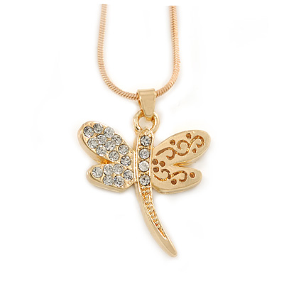 Small Crystal Butterfly Pendant With Gold Tone Snake Chain - 40m Length/ 5cm Extension - main view