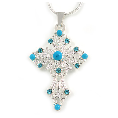 Turquoise Bead, Light Blue Crystal Filigree Cross Pendant with Silver Tone Snake Type Chain - 44cm L/ 4cm Ext