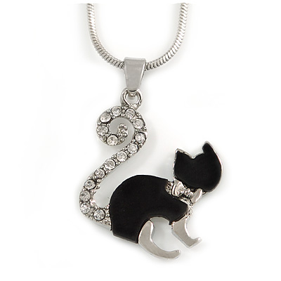 Small Crystal Kitten Pendant with Silver Tone Snake Type Chain - 41cm L/ 5cm Ext