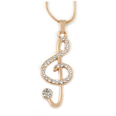 Gold Plated Clear Crystal Treble Clef Pendant with Gold Tone Snake Type Chain - 44cm L/ 3cm Ext