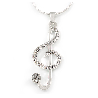 Crystal Treble Clef Pendant With Silver Tone Snake Chain - 44cm L/ 4cm Ext