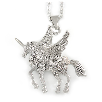 Delicate Crystal Unicorn Pendant with Silver Tone Chain - 40cm L/ 4cm Ext