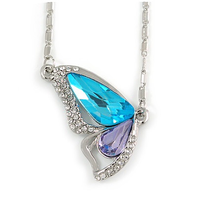 Sky Blue/ Amethyst/ Clear Crystal Butterfly Pendant wiht Silver Tone Chain - 42cm L/ 5cm Ext - main view
