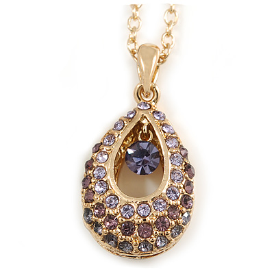 Purple/ Lavender/ Lilac Crystal Teardrop Pendant with Gold Tone Chain - 40cm L/ 5cm Ext