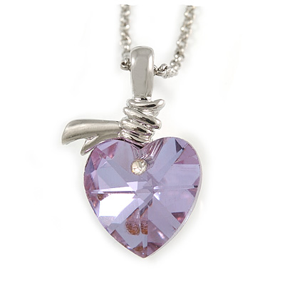Amethyst Faceted Glass Heart Shape Pendant with Silver Tone Beaded Chain - 40cm L/ 5cm Ext