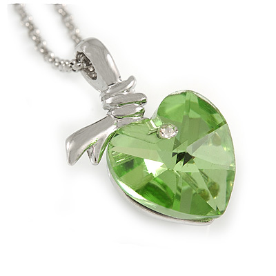 Light Green Faceted Glass Heart Shape Pendant with Silver Tone Beaded Chain - 40cm L/ 5cm Ext