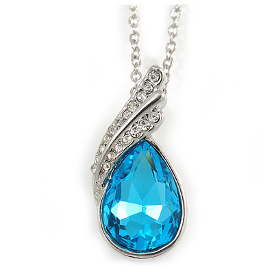 Sky Blue/ Clear Crystal Teardrop Pendant with Silver Tone Chain - 40cm L/ 6cm Ext