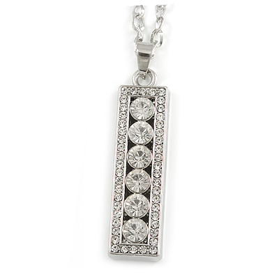 Clear Crystal Medallion Pendant with Thick Long Chain In Silver Tone - 70cm L