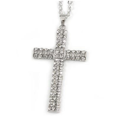 Statement Crystal Cross Pendant with Chunky Long Chain In Silver Tone - 70cm L
