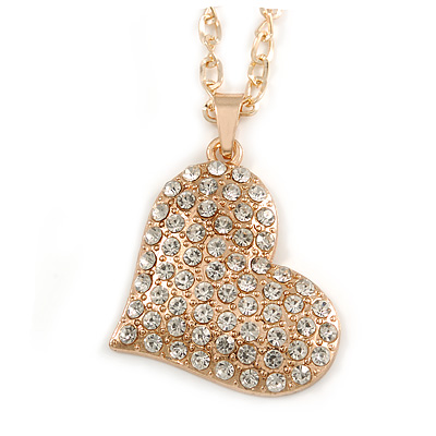 Clear Crystal Heart Pendant with Long Chunky Chain In Gold Tone Metal - 70cm L - main view