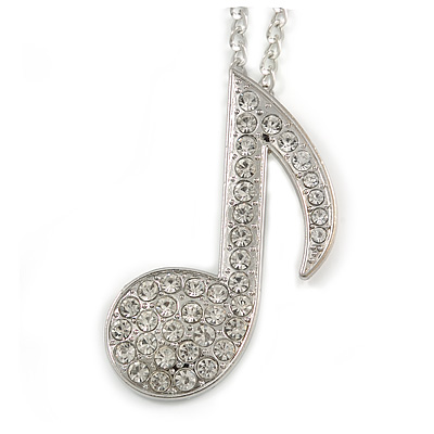 Large Clear Crystal Treble Clef/ Musical Note Pendant with Chunky Chain In Silver Tone - 70cm L