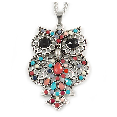 Multicoloured Beaded Owl Pendant with Long Chain In Silver Tone - 70cm L/ 5cm Ext