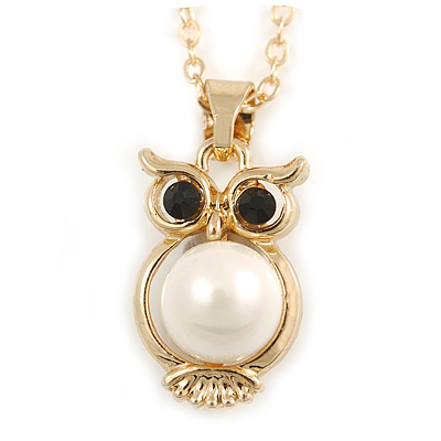 Small Owl Pendant with Gold Tone Chain - 42cm L/ 5cm Ext