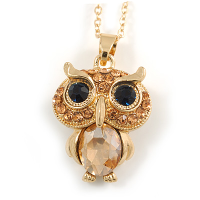 Small Champagne Coloured Crystal Owl Pendant with Gold Tone Chain - 42cm L/ 5cm Ext - main view
