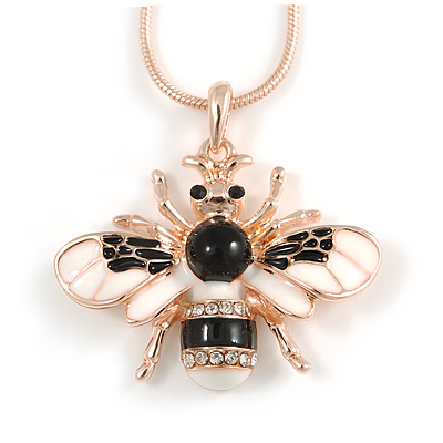 Cute Clear Crystal, White/ Black Enamel Bee Pendant with Rose Gold Tone Snake Chain - 40cm L/ 6cm Ext