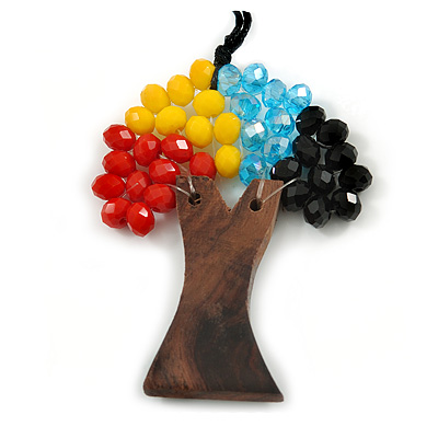 Multicoloured Glass Bead/ Brown Wood Tree Of Life Pendant with Black Cotton Cord - 76cm L - main view