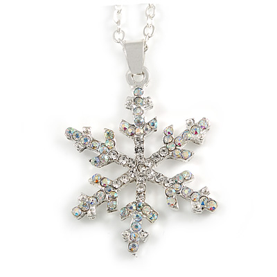 Christmas Clear/ AB Snowflake Pendant with Silver Tone Chain - 40cm L/ 5cm Ext