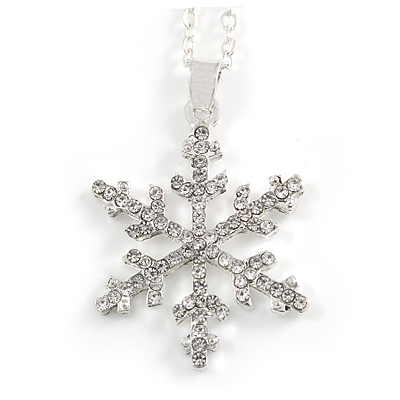 Christmas Clear Snowflake Pendant with Silver Tone Chain - 40cm L/ 5cm Ext
