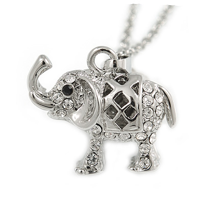 Small Crystal Elephant Pendant with Silver Tone Chain - 40cm L/ 5cm Ext