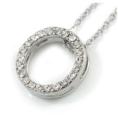 Open Cut Crystal Ring Pendant with Silver Tone Chain - 40cm L/ 6cm Ext